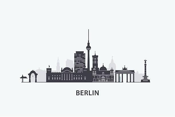 베를린 스카이라인 실루엣 - 베를린 stock illustrations