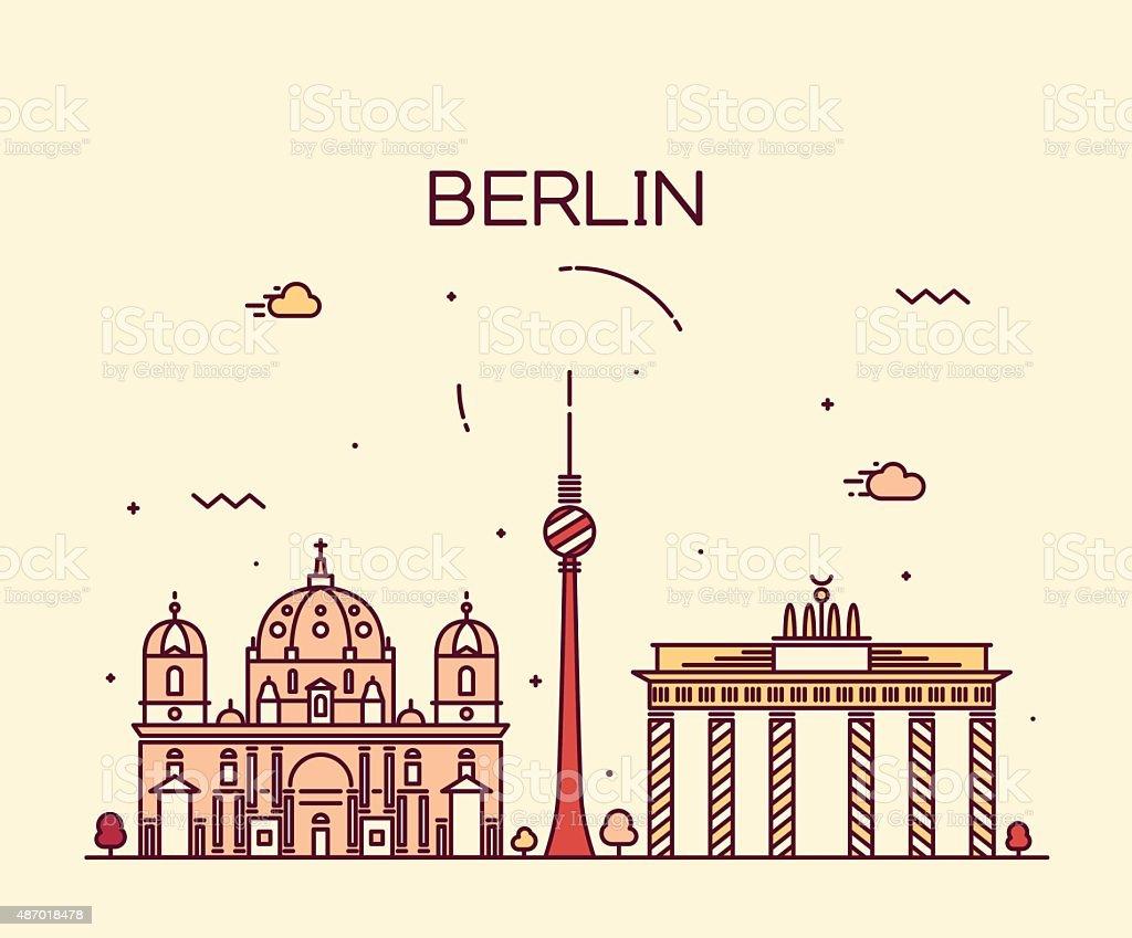 Berlin skyline trendy vector illustration linear vector art illustration