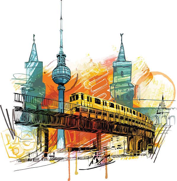 bildbanksillustrationer, clip art samt tecknat material och ikoner med berlin skyline - berlin street