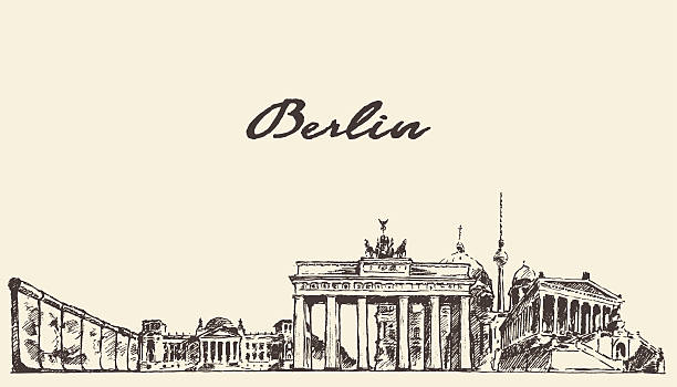 ilustrações de stock, clip art, desenhos animados e ícones de berlim horizonte ilustração vetorial desenhada desenho - berlin wall