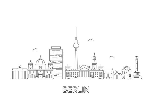 ilustrações de stock, clip art, desenhos animados e ícones de berlin skyline. vector illustration - berlin wall