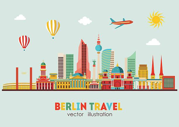 베를린 스카이라인. 벡터 일러스트레이션 - 베를린 stock illustrations