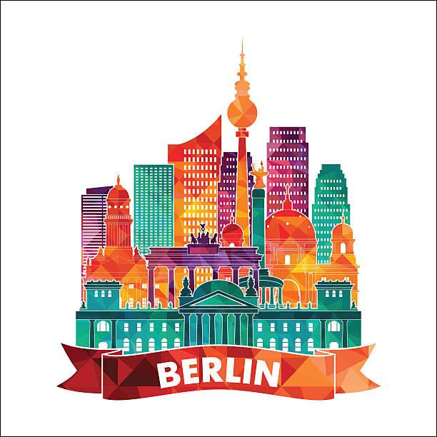 ilustrações de stock, clip art, desenhos animados e ícones de horizonte de berlim. ilustração vetorial - berlin wall