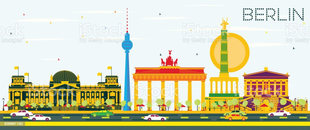 Berlin Skyline with Color Buildings and Blue Sky. vector art illustration