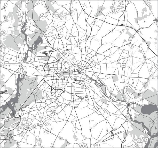 bildbanksillustrationer, clip art samt tecknat material och ikoner med berlin street map svart och vitt - berlin street