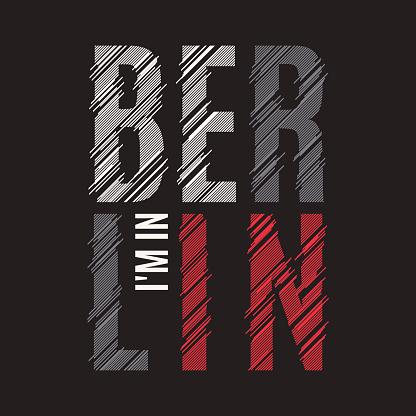 Berlin tee print. T-shirt design graphics stamp label typography.