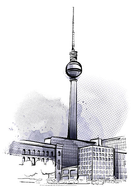 bildbanksillustrationer, clip art samt tecknat material och ikoner med berlin tower - berlin street