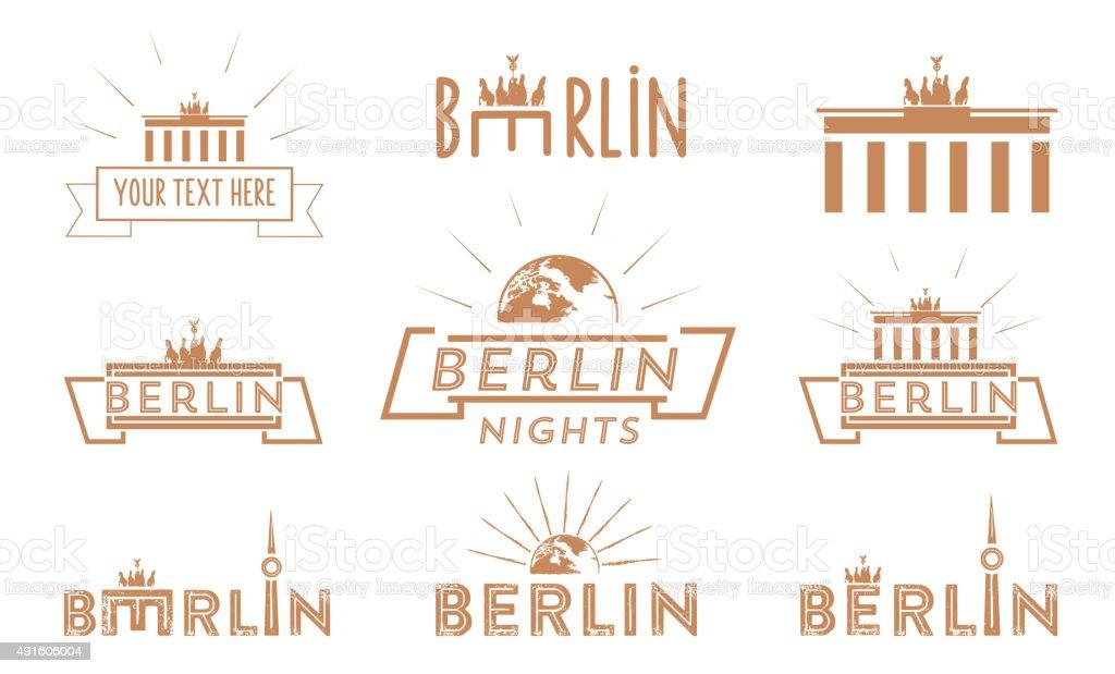 berlin travel vintage icon set vector art illustration