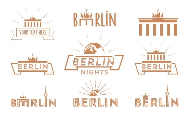 베를린 여행 빈티지 아이콘 세트 - 베를린 stock illustrations