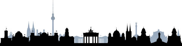 berlin (alle gebäude sind separate und komplett) - berliner fernsehturm stock-grafiken, -clipart, -cartoons und -symbole