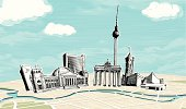 Hand drawn places of interest - main symbols of Berlin.