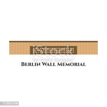 istock Berlin Wall Memorial in Berlin. Flat icon vector illustration. The world's famous landmarks and tourist destinations elements. Travel and trip tour guide concept. This place recommended for you to visit 1278523158