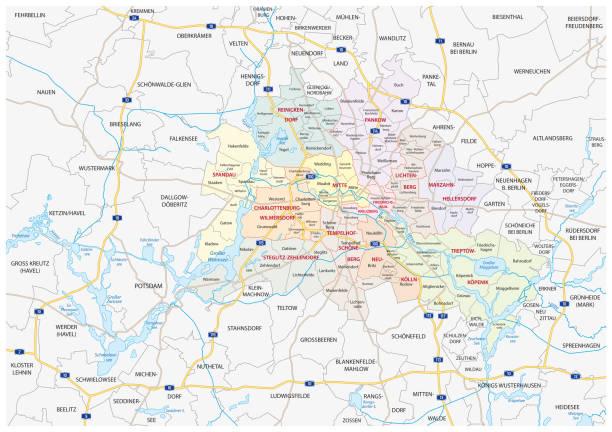 베를린-브란덴부르크 대도시 지역 지도 - 브란덴부르크 주 stock illustrations