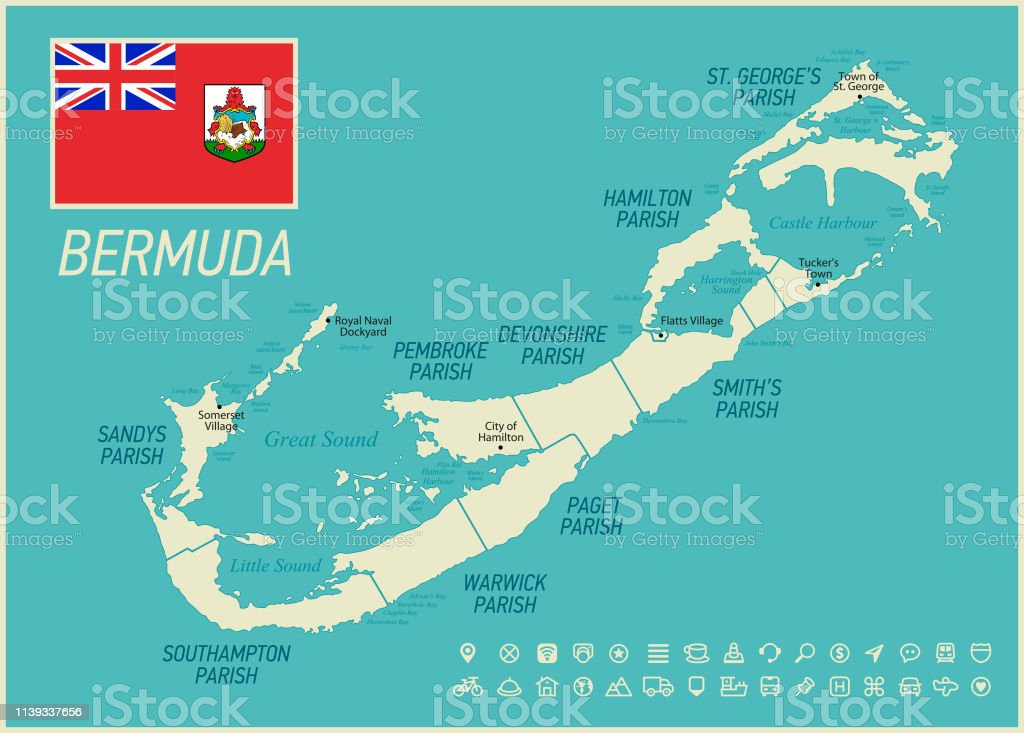 Bermuda High Detailed Map Vector Illustration With Icon Set ...