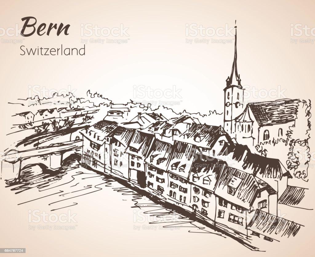 Bern City View Sketch Switzerland Stock Vektor Art und mehr Bilder ...