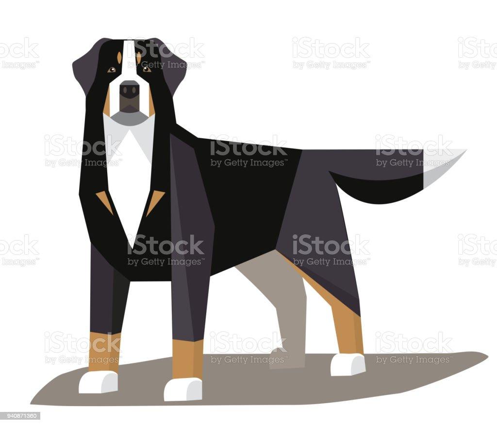 Bernese Mountain Dog minimalist image vector art illustration