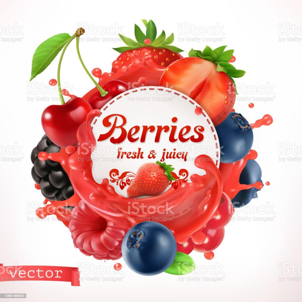 Berries, 3d vector label vector art illustration