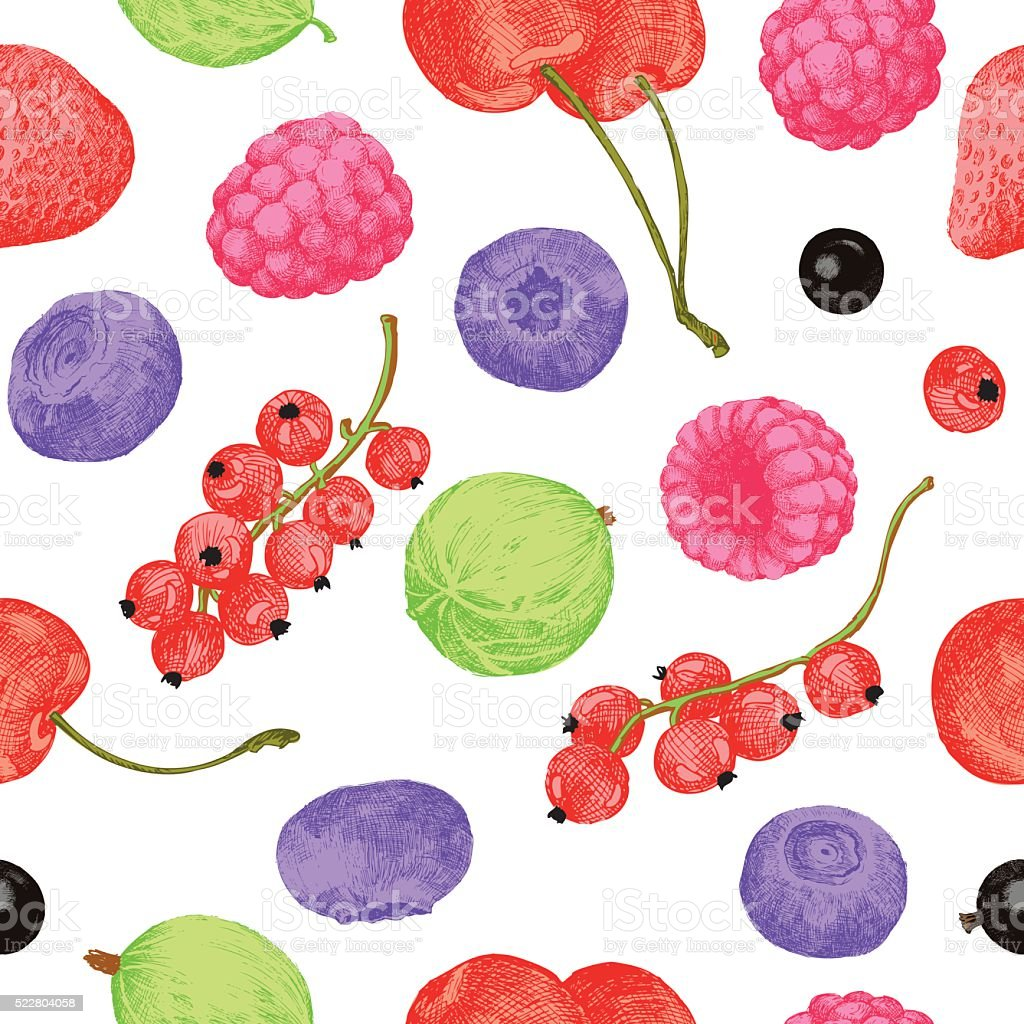 Berries seamless pattern vector art illustration