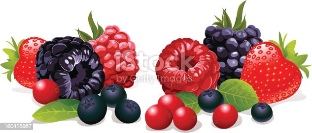 strawberry, raspberry, blackberry, cranberry and blueberry on white background