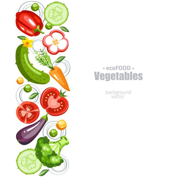 Berries fresh healthy vegetables background vertical cooking borders stock illustrations