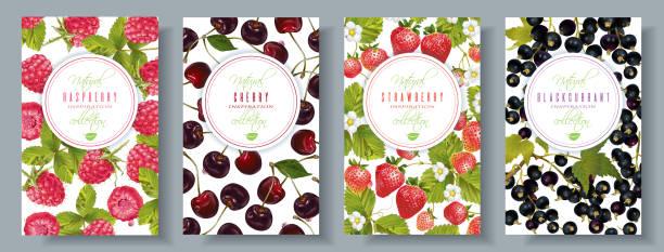 illustrations, cliparts, dessins animés et icônes de jeu de bannières de berry - fraise
