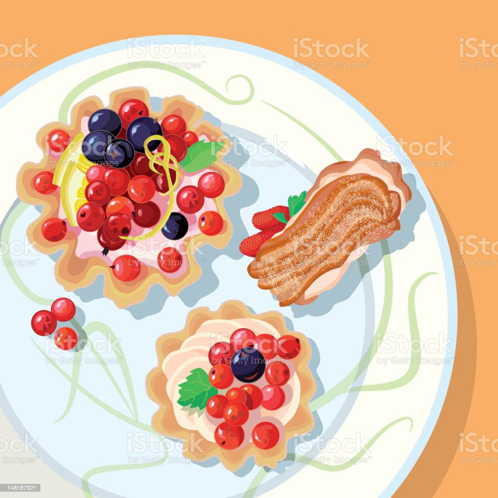 berry cakes royalty-free stock vector art