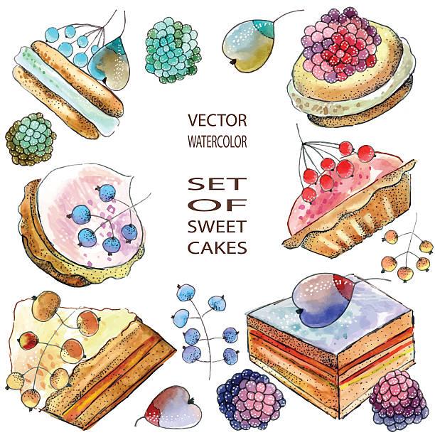 berry kuchen - pflaumenkuchen stock-grafiken, -clipart, -cartoons und -symbole