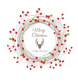 Berry Christmas Wreath for Happy new year card