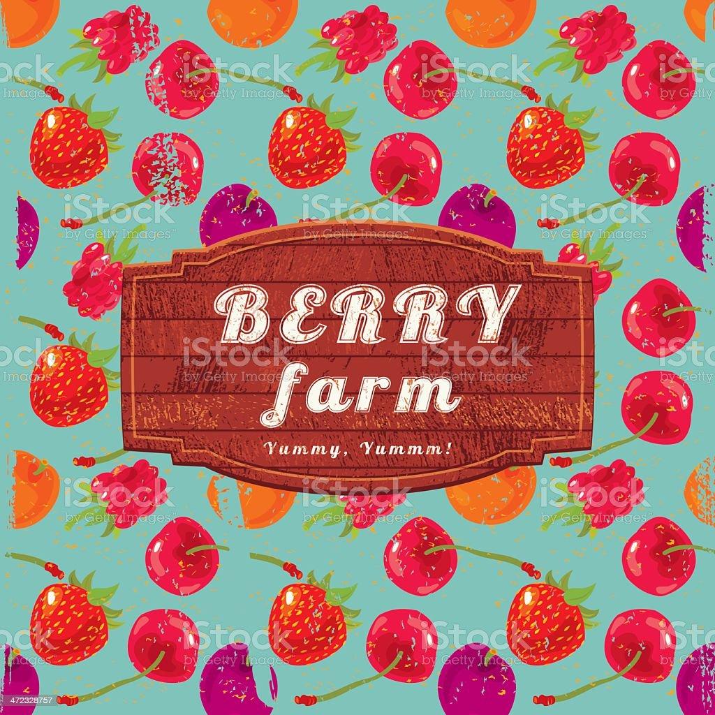 Berry Farm Sign vector art illustration