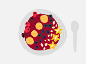 Smoothie bowl illustration video with different fruits like berries and banana and toppings like chia seeds and oats.