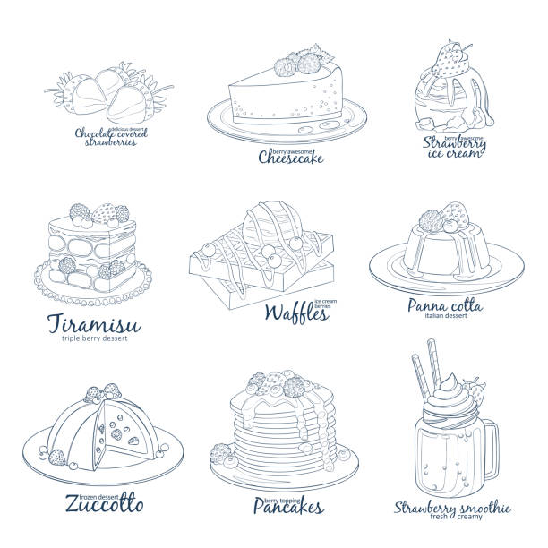 Berry mix dessert collection of icons isolated on white background. Hand drawn vector illustration black and white colors Berry mix dessert collection of icons isolated on white background. Hand drawn vector illustration black and white colors cake clipart stock illustrations