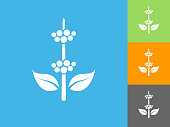 Berry Plant  Flat Icon on Blue Background. The icon is depicted on Blue Background. There are three more background color variations included in this file. The icon is rendered in white color and the background is blue.