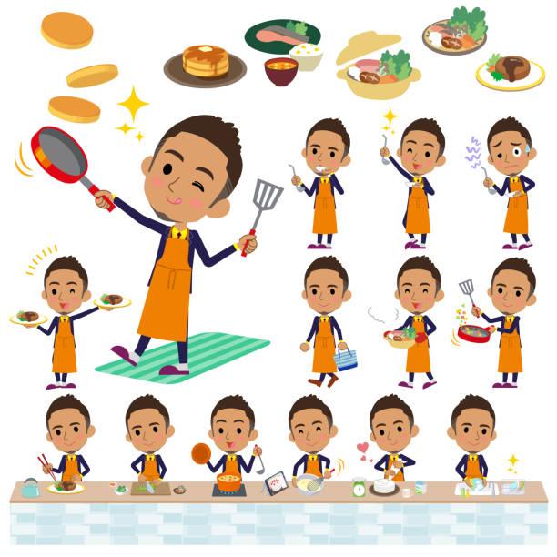 ilustrações de stock, clip art, desenhos animados e ícones de berry short hair businessman black_cooking - fail cooking