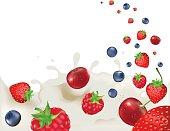 Strawberry, Raspberry, Bilberry And Cherry, Falling Into Splash Of Milk, Vector illustration
