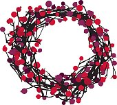 Vector silhouette of a wreath with berries.