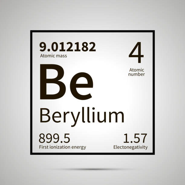 Royalty free beryllium periodic table clip art vector images beryllium chemical element with first ionization energy atomic mass and electronegativity values simple black urtaz Image collections
