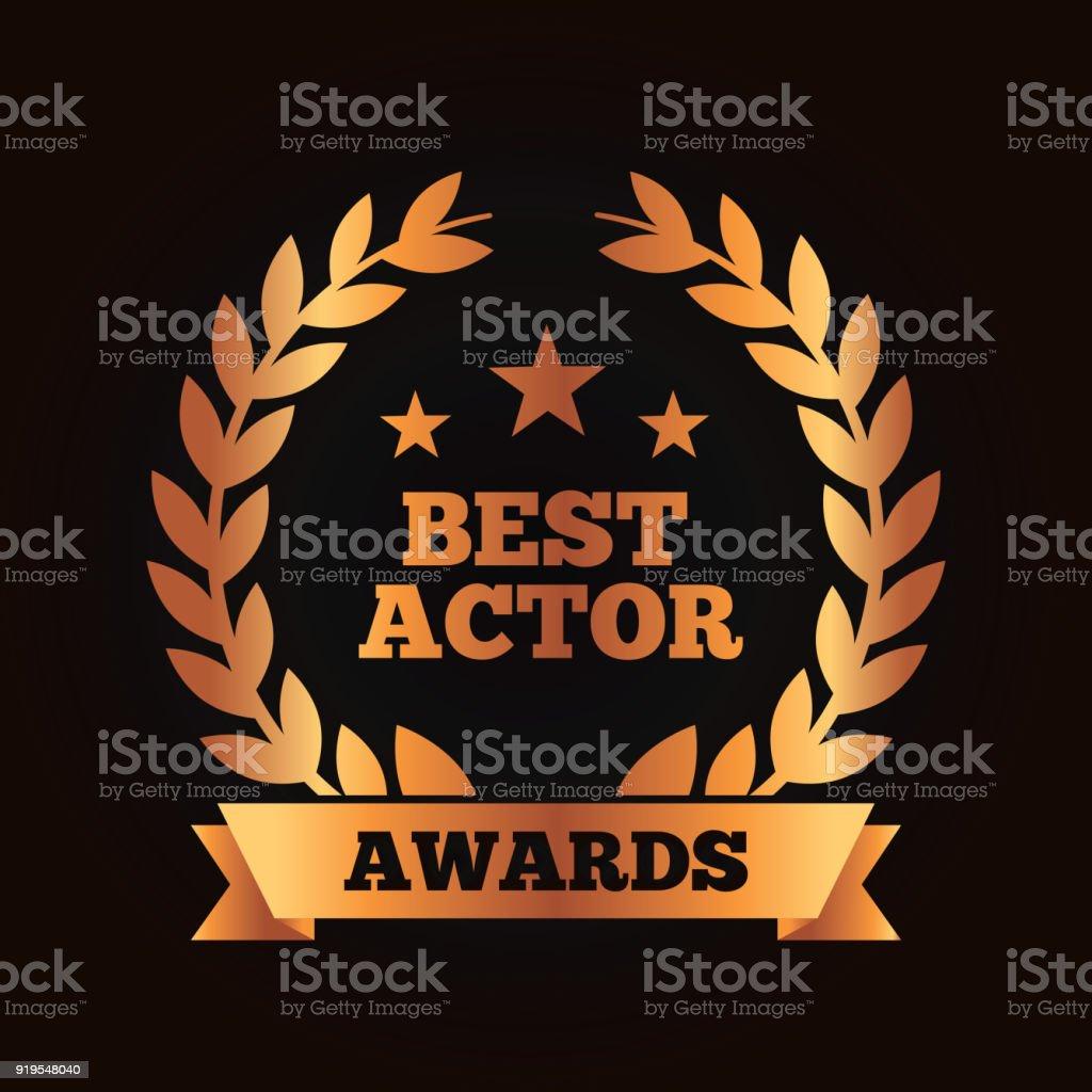 mejor cinta de laurel actor Premio corona - ilustración de arte vectorial