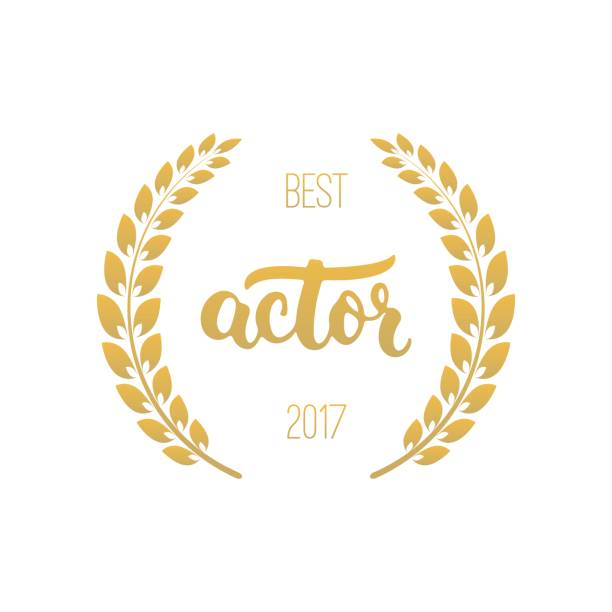 best actor awards in golden color with laurel wreath and 2017 text - oscars stock illustrations, clip art, cartoons, & icons