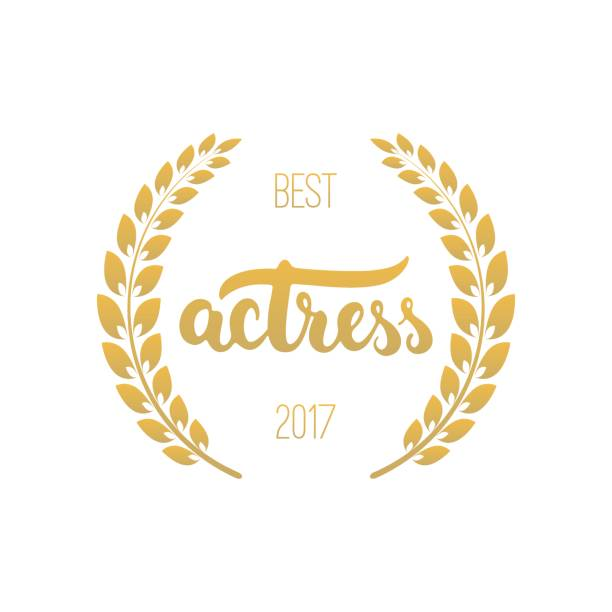 best actress awards in golden color with laurel wreath and 2017 text - oscars stock illustrations, clip art, cartoons, & icons