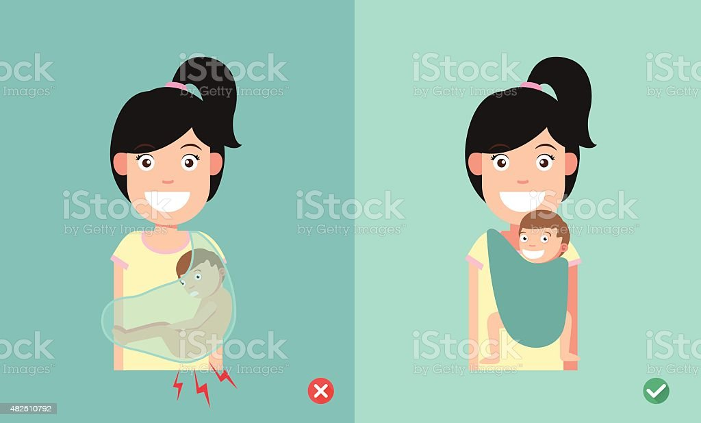 Best and worst positions child for prevention of hip dysplasia vector art illustration