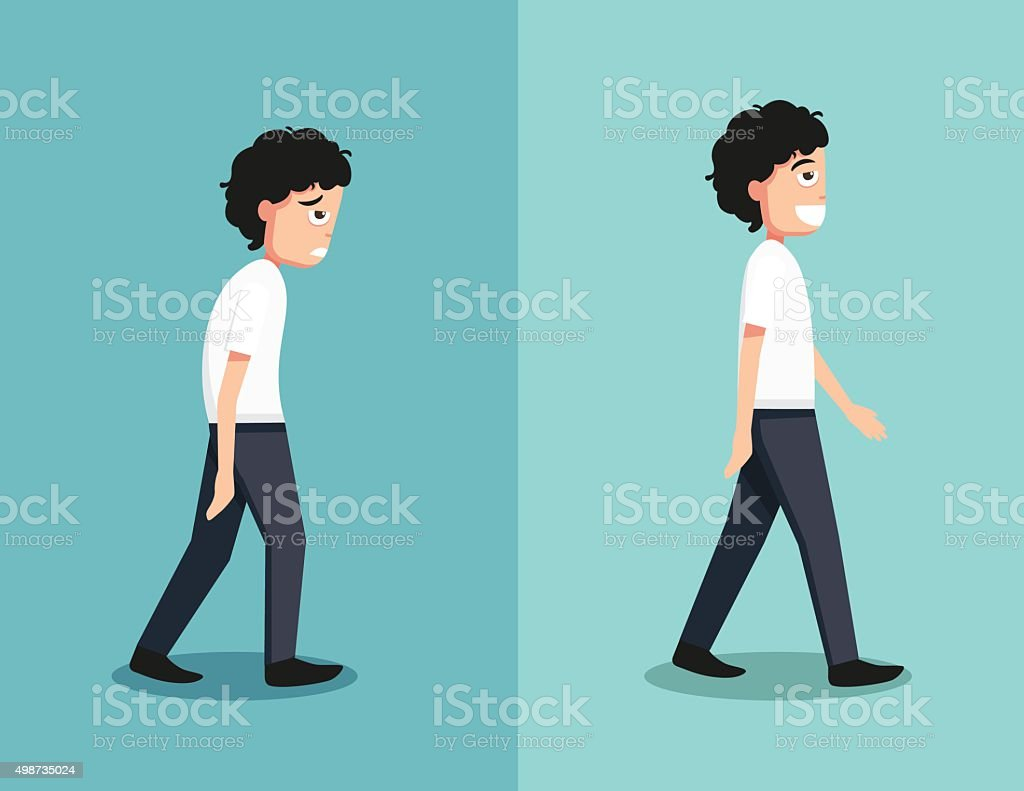 Best and worst positions for walk vector art illustration