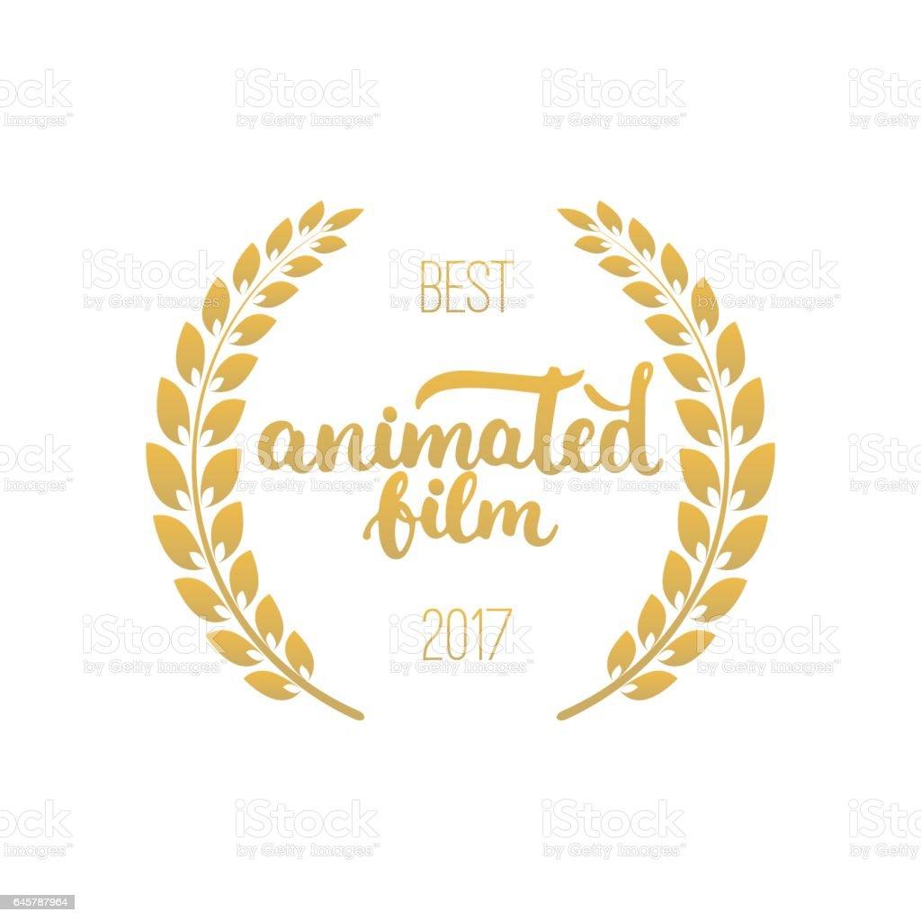 Bester Animierter Film Awards In Goldener Farbe Mit Lorbeerkranz Und ...