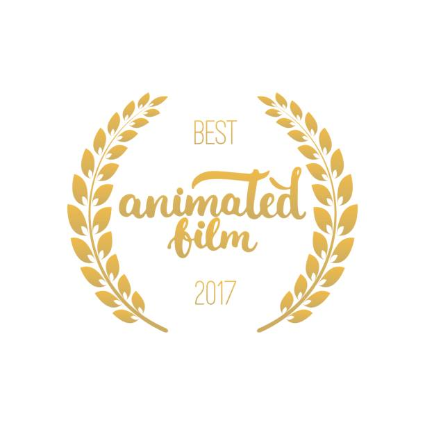 best animated film awards in golden color with laurel wreath and 2017 text - oscars stock illustrations, clip art, cartoons, & icons