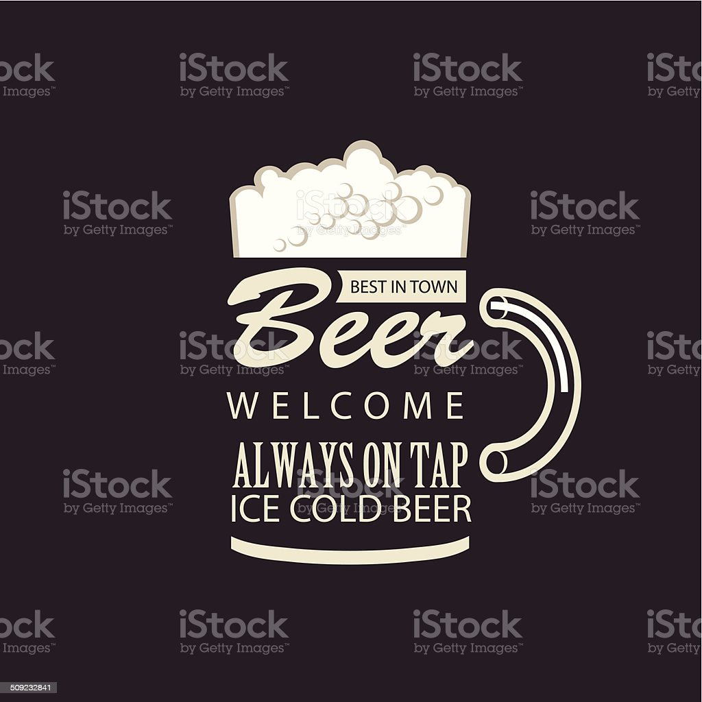 Best beer in town vector art illustration