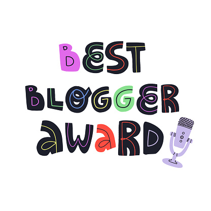 Best blogger award funny hand drawn lettering text and professional microphone for audio and video record. Flat vector isolated illustration for greeting card, banner, t-shirt print and other design.