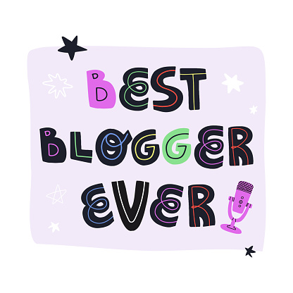Best blogger ever fun hand drawn lettering text and professional microphone for audio record. Flat vector isolated illustration for greeting card, banner, t-shirt print and other design.