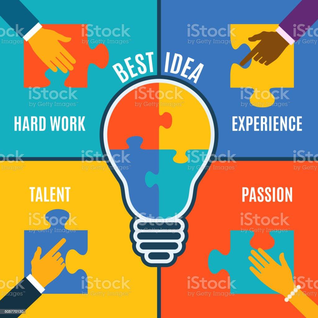 Best bright idea, creative conceptual background. vector art illustration