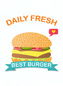 Best Burger advertising or marketing poster design with cartoon cheeseburger and text Daily Fresh with ribbon banner, colored vector illustration