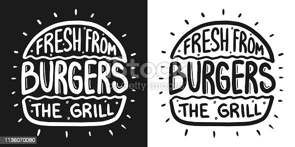 Fresh burger from the grill lettering with rays and engraving bun vector vintage illustration. For poster and menu.