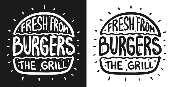 Best burger lettering with rays and engraving bun. White vector vintage illustration on dark chalkboard. For poster and menu.